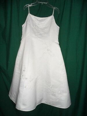 CINDERELLA White Embroidered Beaded Formal Wedding Flower Girl Dress Size 12 1/2 - Girl Formal Dresses Size 12
