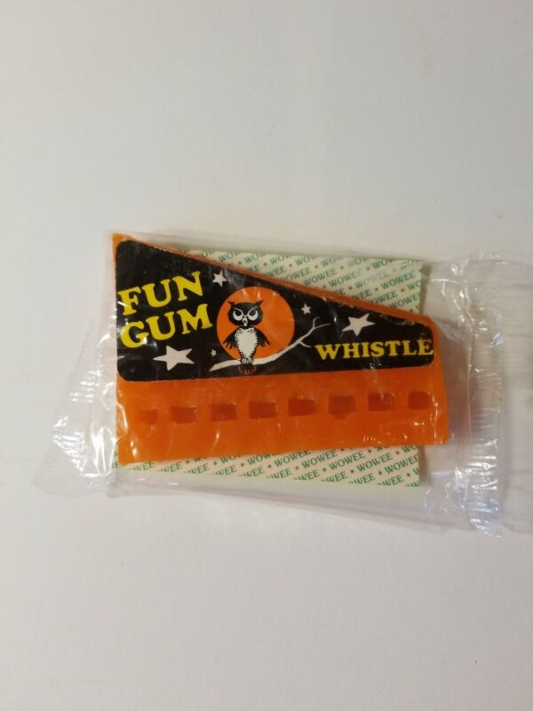 vintage Halloween WOWEE CHEWING GUM WHISTLE harmonica witch + music notes