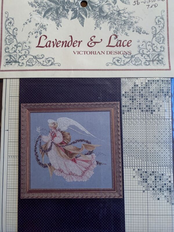 """1993 Lavender & Lace Told In A Garden Cross Stitch Leaflet """"Angel of Summer"""""""