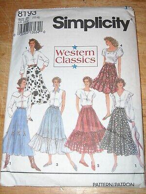 🌼 SIMPLICITY #8193 - LADIES WESTERN - HOE DOWN - RODEO SKIRTS PATTERN 12-16 FF