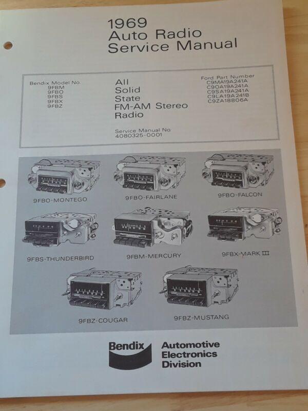 Vintage Bendix Auto Radio Service Manual 1969 All Solid State FM-AM Stereo Radio