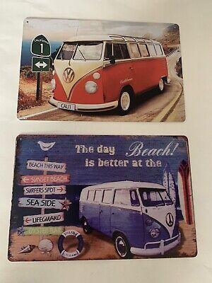 volkswagen bus/vanagon Tin Sign Beach Lake House Vintage Look Car Van Poster