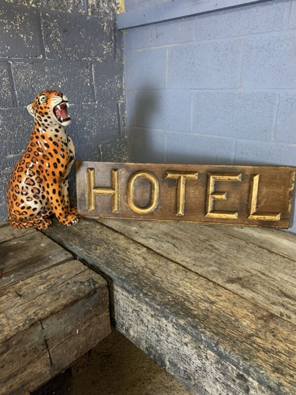 Antique Victorian Hotel Trade Sign Carved Reverse Cut Wooden Gold Gilt Shop Prop