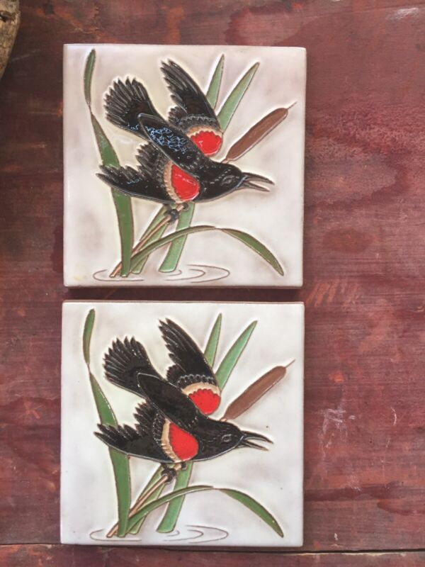 MCKUSICK pottery Red Winged Blackbird Bird tile 1 of 2 Available