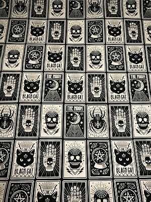 GLOW IN THE DARK Fortune Teller Tarot Card Style Halloween Cat Skull Fabric BTHY - Halloween Cat Fabric