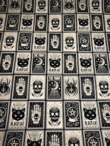 GLOW IN THE DARK Fortune Teller Tarot Card Style Halloween Cat Skull Fabric BTHY
