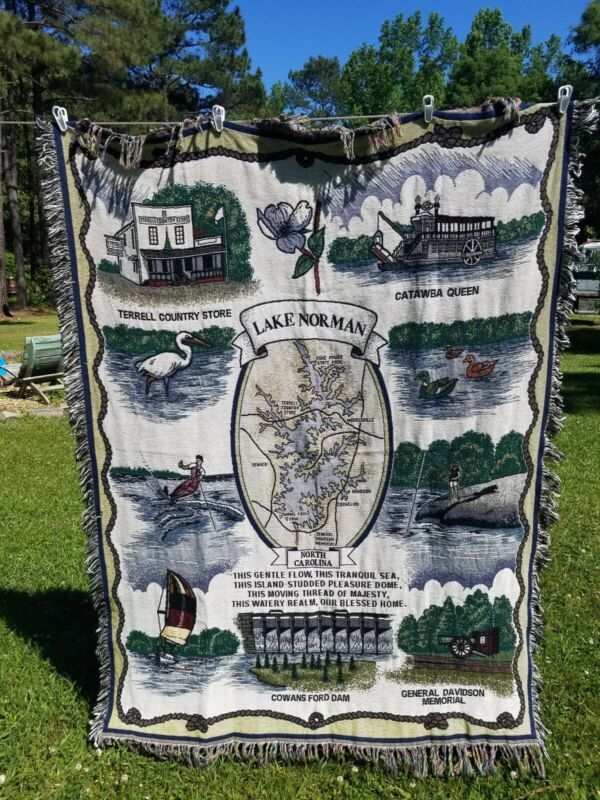 Lake Norman North Carolina Area Landmarks Map Throw Blanket Afghan Tapestey