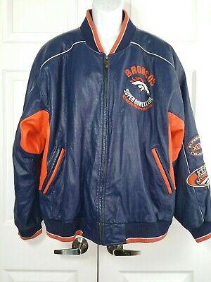 Denver broncos superbowl XXXIII 33 champion blue leather jacket G3 carl banks 2X