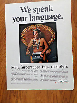 1969 Sony Superscope Tape Recorder Ad South Sea Isle