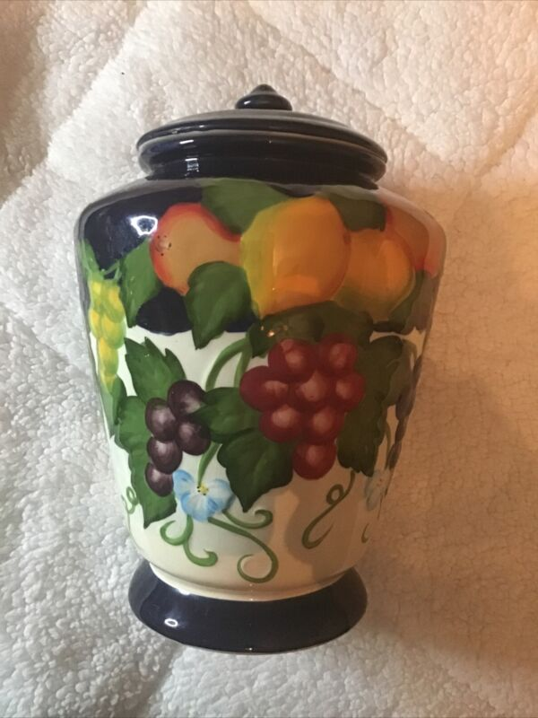 """Ceramic Hand Painted For Nonni's Biscotti Cookie Jar Sealed Lid 12"""" Tall"""