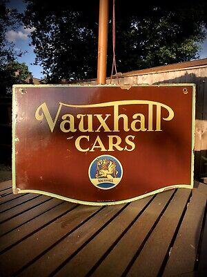 Vintage Rare Original VAUXHALL CARS enamel Sign !