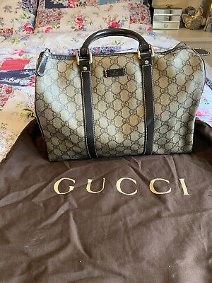 Authentic Gucci Vintage Brown GG logo large Bucket handbag travel tote purse bag