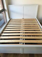 IKEA Beach Chic White Stained Queen Size Bed Centennial Park Eastern Suburbs Preview