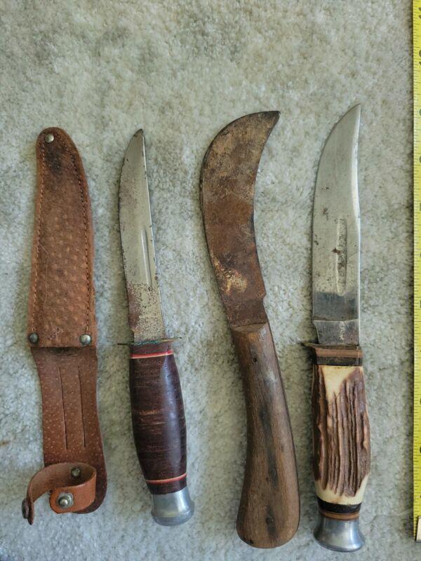 "Lot Of 3 Hunting 9"" Knives"