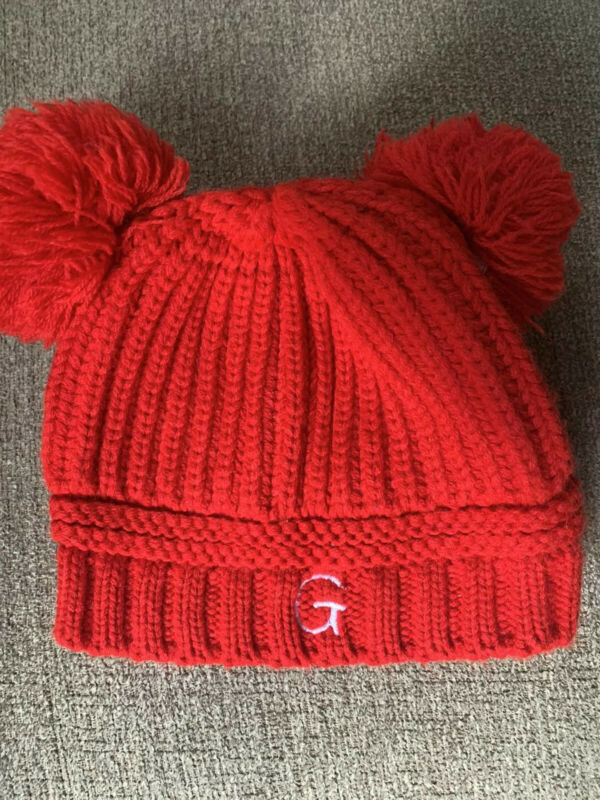 Baby winter hat red pom poms G initial