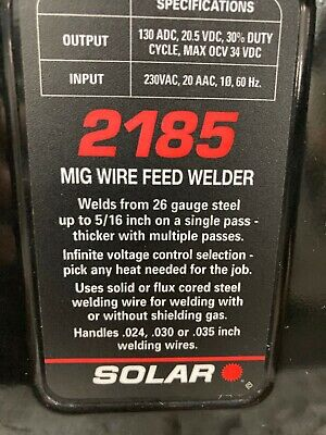 Solar 2185 Mig Wire Feed Welder 220v - Great Condition Gently Used