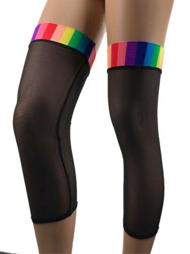 Exotic Dancewear Rainbow Leg Warmers Thing High Socks Leg Wear Rave Outfit LGBTQ