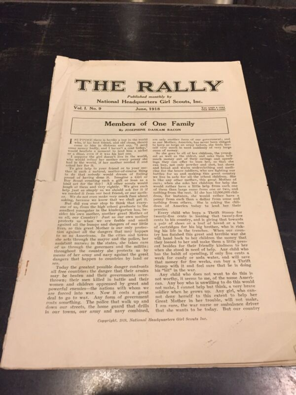 """Rare Early Girl Scout 1918 9th issue of """"The Rally Magazine.  Yes. Number 9"""