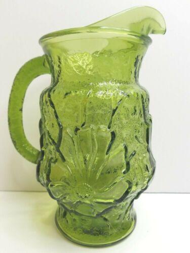 Anchor Hocking Daisy Green Avocado Glass Pitcher Vintage Retro Flowers Pattern