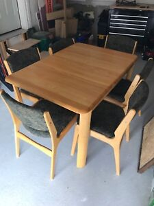 Solid wood table set with 6 upholstered chairs