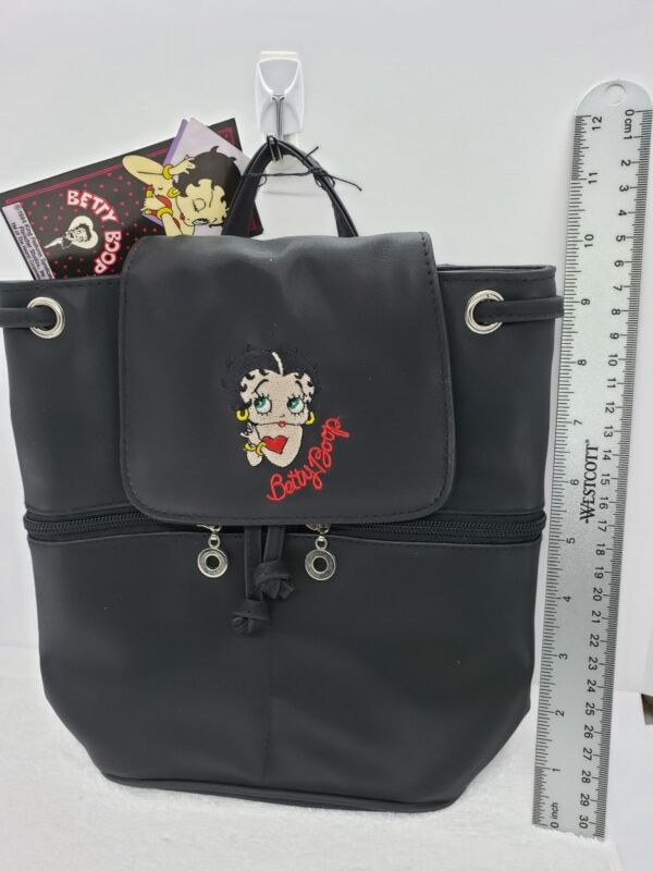 Betty Boop black fabric Purse Embroidered Shoulder Strap Zipper backpack vintage