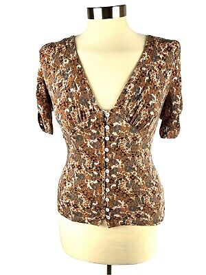 Free People Hollywood Ruched Sleeve Top Blouse Shirt Size XS Floral Print Brown