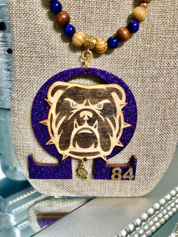 Handmade Omega Psi Phi necklace With Line Number