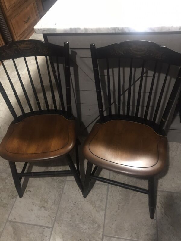 Pair of Hitchcock Chairs - Harvest/Black  with Stenciling - Local Pickup
