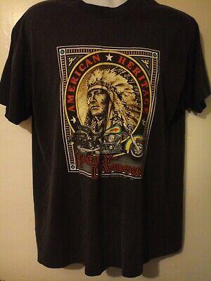Harley Davidson x American Heritage Indian 3D Emblem Vtg T-Shirt XL