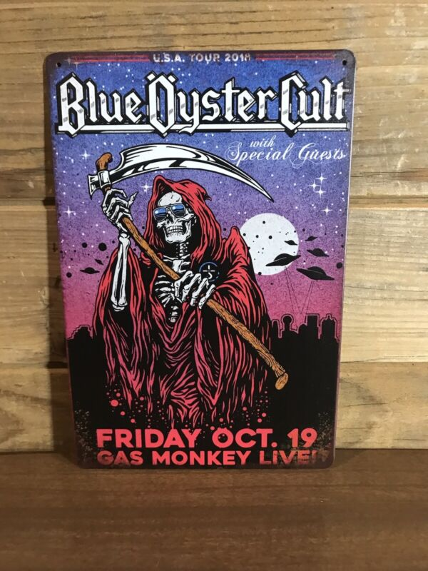"Blue Oyster Cult Gas Monkey Live Tour Tin Tacker sign 8""X12"" Man-Cave Décor"