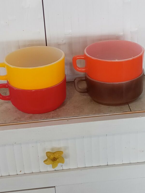 Vtg Lot 4 FIRE KING Red Brown Orange yellow Oven Proof Handle Soup Bowl