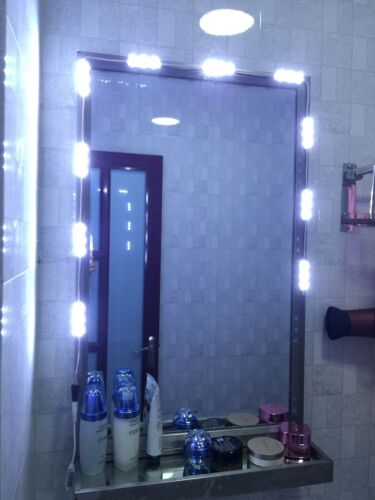 10ft led white dressing mirror lighted cosmetic makeup vanity light dimmer power. Black Bedroom Furniture Sets. Home Design Ideas