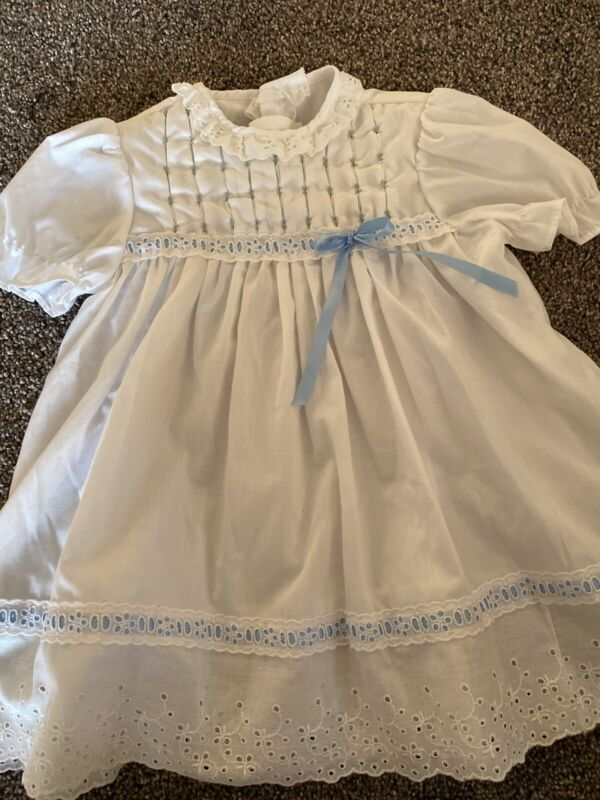 Polly Flinders Hand Smocked Dress Vintage 3T White/ Light Blue Vgc