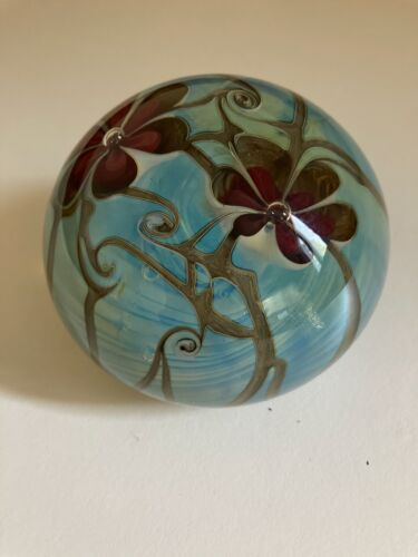 Vintage Zephyr Studios Art Glass Paperweight Floral Opaline GreenBlue #143 1979