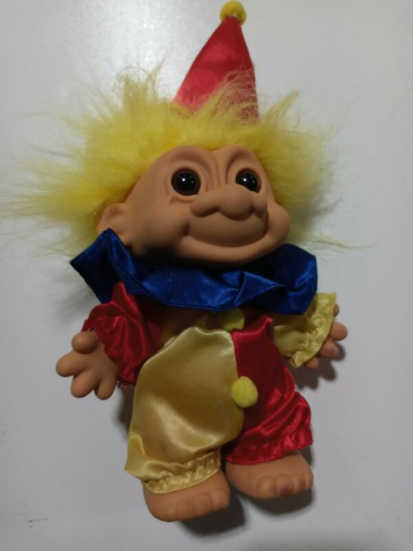 "CIRCUS CLOWN TROLL WITH YELLOW HAIR AND HAT DOLL 7"" INCH RUSS ITEM  18334 #21"