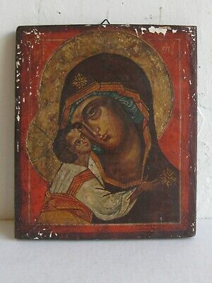 Antique 19C RUSSIAN ORTHODOX HAND PAINTED MARY & JESUS ICON ON WOOD PAINTING