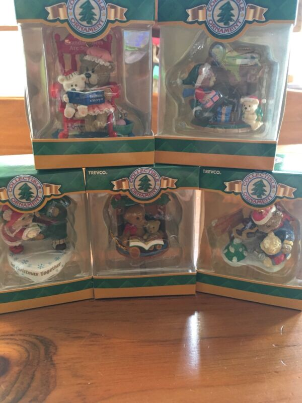 Vintage Trevco Christmas Ornament Lot of 5 Bears Grandmother Grandfather Book