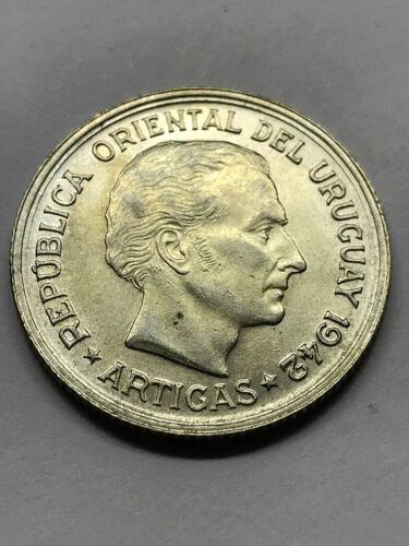 1942 Uruguay 1 Peso Silver Unc++ #10935