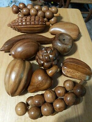 Rosa's Philippine Handicrafts Wooden Fruit Bowl With 10 Fruits.
