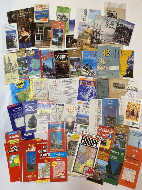 Large Lot Of Vintage Tour Guides, Souvenir Booklets & Maps Europe 1940