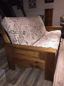Futon rustic wood frame and mattress
