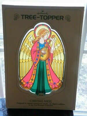 Hallmark 1979 ANGEL TREE TOPPER Christmas Plastic Stained Glass USA in Box