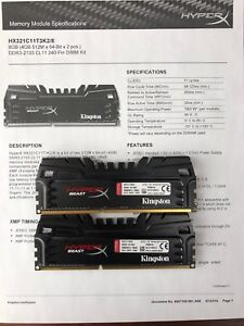Kingston HyperX Beast 8GB - HX321C11T3K2/8