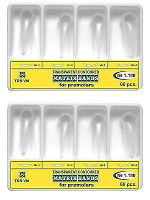120 Pcs Dental Premolar Clear Transparent Contoured Matrices Matrix Bands Tor Vm