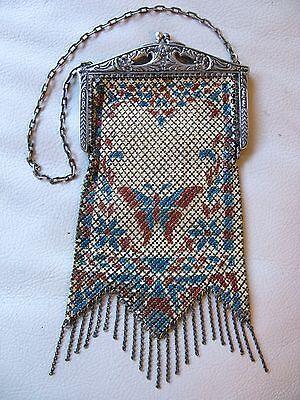 Antique Art Nouveau Frame Blue Rust Enamel Butterfly Chain Mail Purse Mandalian