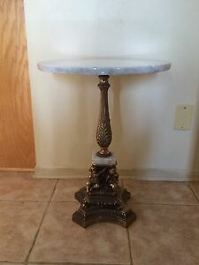 Marble and brass accent table