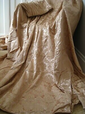 Vintage Rose Gold Bronze Damask Satin Curtains Lined Jacquard Fabric 80 x 77""