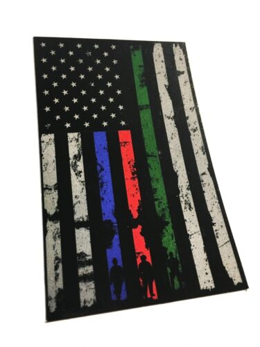 """THIN (RED, BLUE, AND GREEN) LINE 4X2.5"""" REFLECTIVE Tattered Support DECAL"""