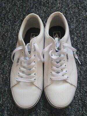 Vans White Faux Leather Lace Up Trainers Size 6 Eur 39
