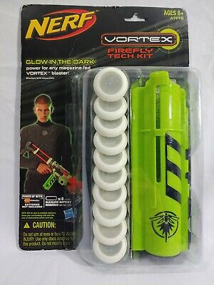 New Nerf Vortex Discs Firefly Clip Magazine Glow In The Dark Tech Kit